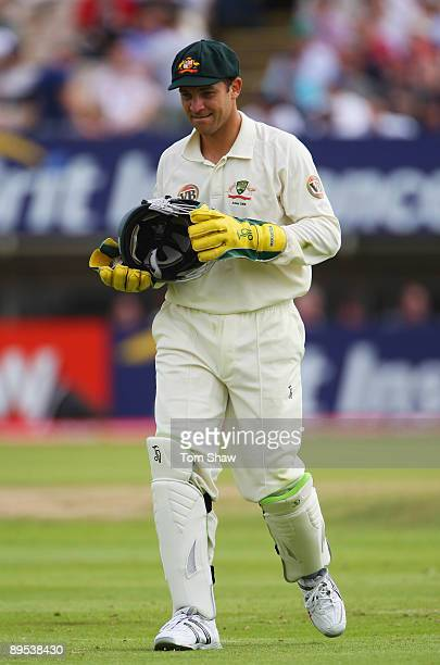 Graham Manou of Australia carries a helmet during day two of the npower 3rd Ashes Test Match between England and Australia at Edgbaston on July 31...