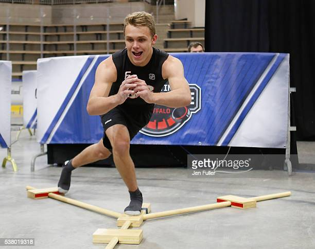 Graham McPhee does the YBalance test during the NHL Combine at HarborCenter on June 4 2016 in Buffalo New York