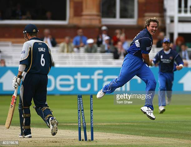 Graham Napier of Essex celebrates bowling out Joe Denly of Kent during the Friends Provident Trophy Final match between Kent and Essex at Lords...