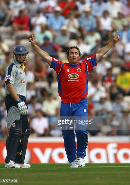 Graham Napier of Essex celebrates the wicket of Justin Kemp of Kent during the Twenty20 Cup Semi Final match between Kent and Essex at the Rosebowl...