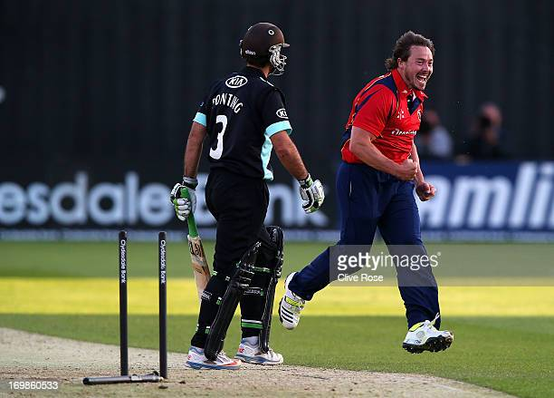 Graham Napier of Essex celebrates the wicket of Ricky Ponting of Surrey during the Yorkshire Bank 40 between Essex and Surrey on June 3, 2013 in...