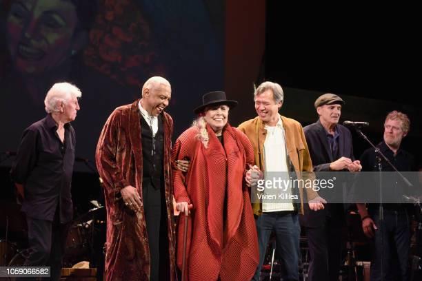 Graham Nash Charles Valentino Joni Mitchell Sauchuen and James Taylor perform onstage at Joni 75 A Birthday Celebration Live At The Dorothy Chandler...