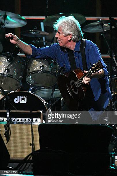 Graham Nash of Crosby Stills and Nash performs onstage at the 25th Anniversary Rock Roll Hall of Fame Concert at Madison Square Garden on October 29...