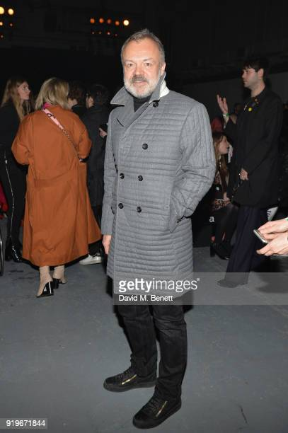 Graham Norton attends the Gareth Pugh show during London Fashion Week February 2018 at Ambika P3 on February 17 2018 in London England