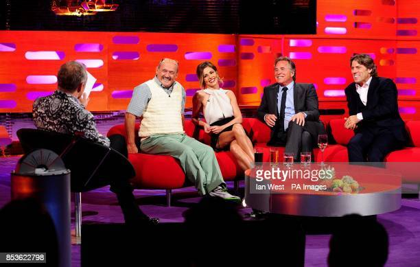 Graham Norton Brendan O'Carroll Cheryl Cole Don Johnson and John Bishop during filming of the Graham Norton Show at the London Studios south London...