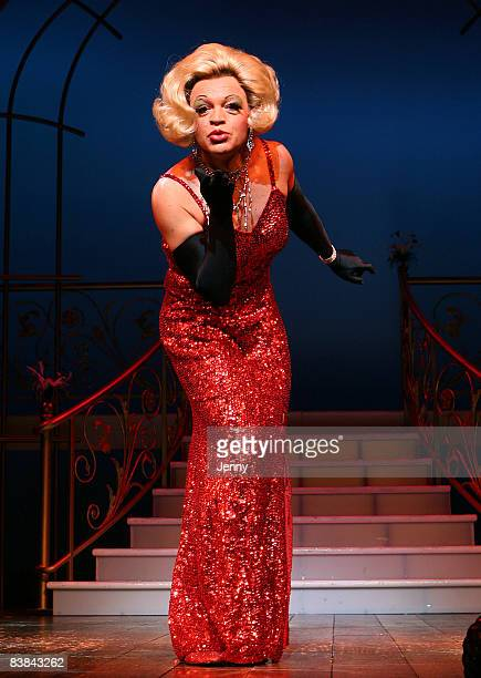 Graham Norton dressed up as drag artiste Zaza in the West End show 'La Cage Aux Folles' currently at the Playhouse Theatre on November 27 2008 in...