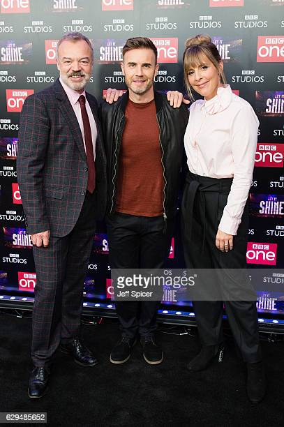 Graham Norton Gary Barlow and Mel Giedroyc attend the launch of the new BBC One show 'Let It Shine' at Ham Yard Hotel on December 13 2016 in London...