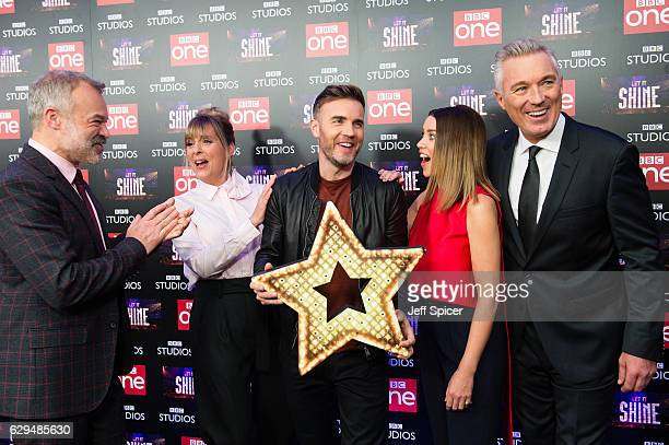 Graham Norton Mel Giedroyc Gary Barlow Dannii Minogue and Martin Kemp attend the launch of the new BBC One show 'Let It Shine' at Ham Yard Hotel on...