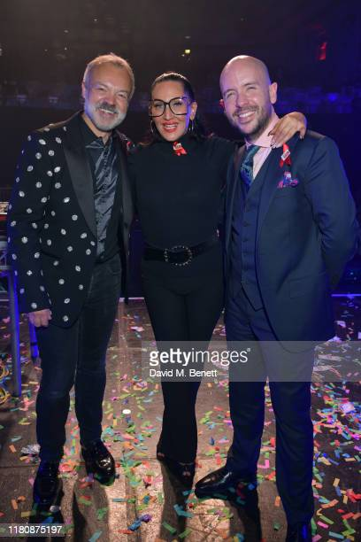 Graham Norton Michelle Visage and Tom Allen attend West End Bares 2019 Stripped celebrating its 10th Birthday at the Troxy on October 13 2019 in...