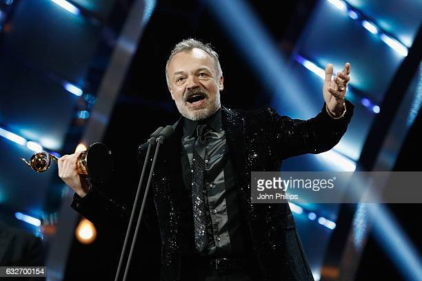 Graham Norton on stage with the Special Recognition Award during the National Television Awards at The O2 Arena on January 25 2017 in London England