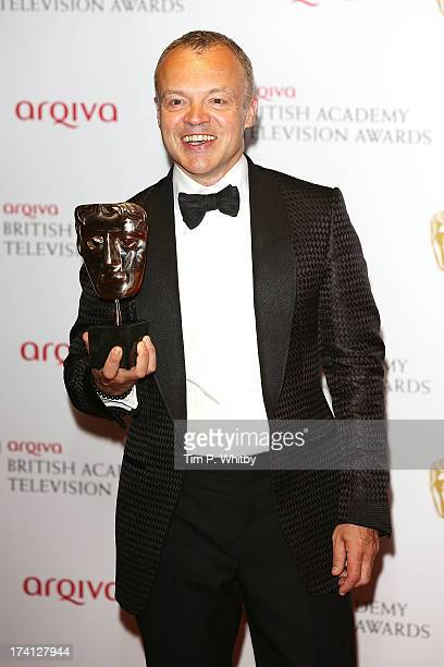 Graham Norton poses in the press room at the Arqiva British Academy Television Awards 2013 at the Royal Festival Hall on May 12 2013 in London England