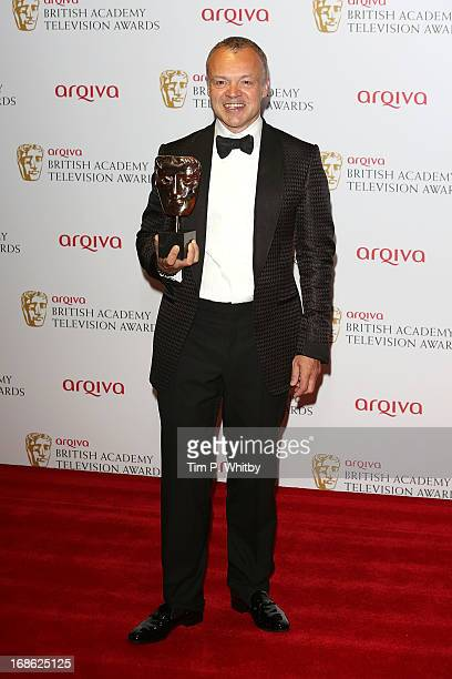 Graham Norton poses with his award for Best Entertainment Programme during the Arqiva British Academy Television Awards 2013 at the Royal Festival...