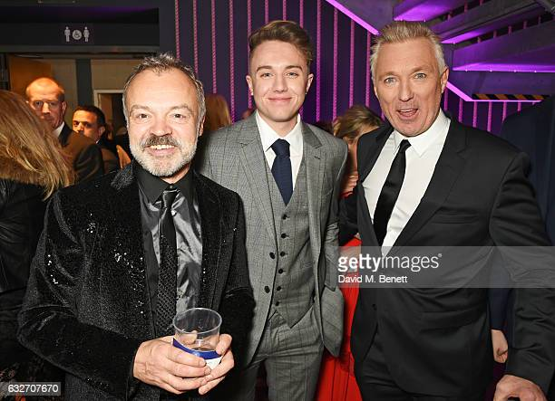 Graham Norton Roman Kemp and Martin Kemp attend the National Television Awards cocktail reception at The O2 Arena on January 25 2017 in London England