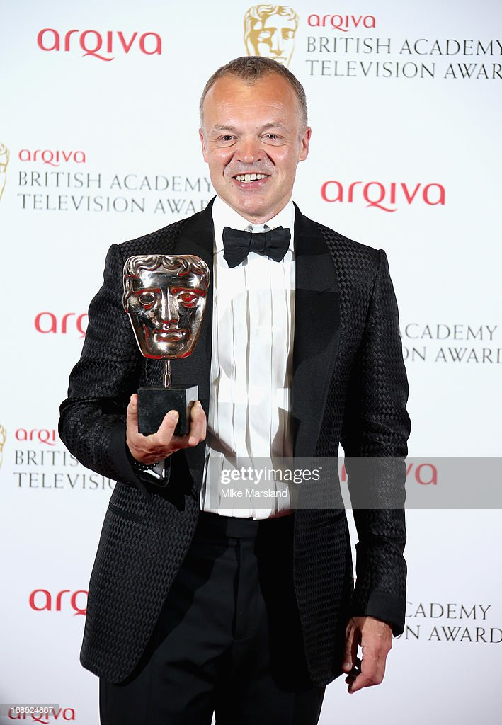 Graham Norton with his Best Entertainment Programme award during the Arqiva British Academy Television Awards 2013 at the Royal Festival Hall on May 12, 2013 in London, England.