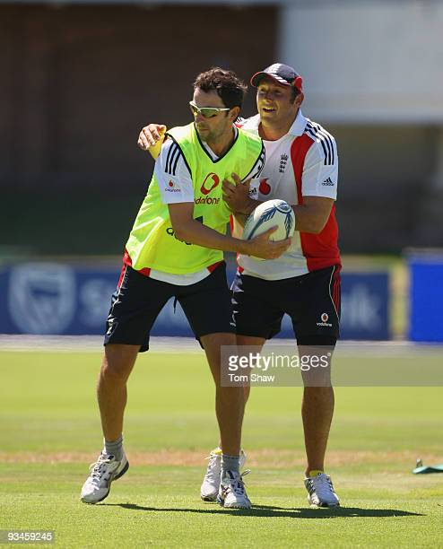 Graham Onions and Tim Bresnan of England play rugby during the England nets session at St Georges Park on on November 28 2009 in Port Elizabeth South...