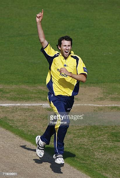 Graham Onions of Durham celebrates after claiming the wicket of Andy Bichel of Essex during the Natwest Pro 40 game between the Durham Dynamos and...