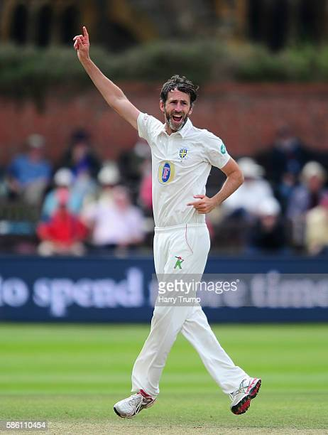 Graham Onions of Durham celebrates after dismissing Peter Trego of Somerset during Day Two of the Specsavers County Championship Division One match...