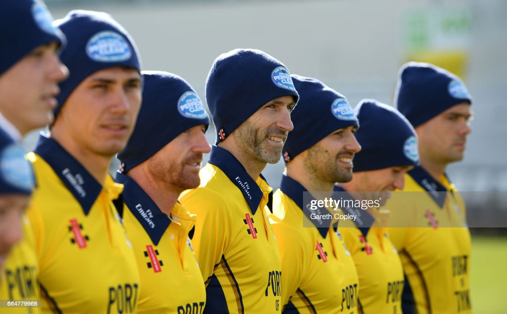 Graham Onions of Durham wears a wooly hat alongside his teammates during their press day at The Riverside on April 5, 2017 in Chester-le-Street, England.