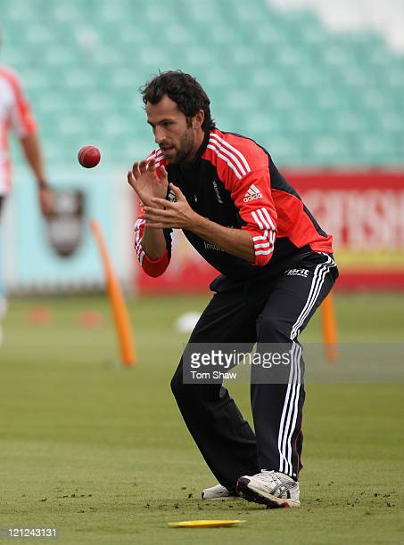 Graham Onions of England does some catching practice during the England nets session at The Kia Oval on August 16 2011 in London England