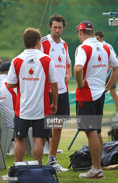 Graham Onions of England has a chat with team doctor Mark Wotherspoon and physio Kirk Russell during the England nets session at the Wanderers...