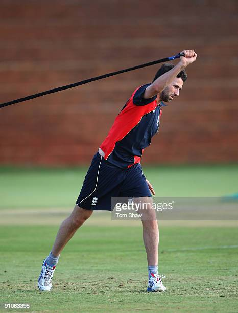 Graham Onions of England warms up during the England nets session at the University of Witswatersrand on September 23 2009 in Johannesburg South...