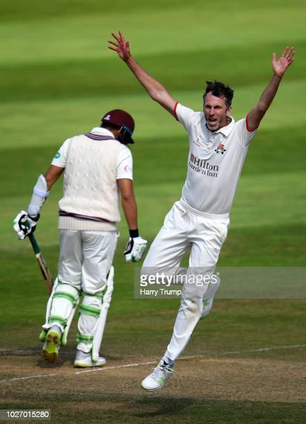 Graham Onions of Lancashire celebrates after dismissing Azhar Ali of Somerset during Day Two of the Specsavers County Championship Division One match...