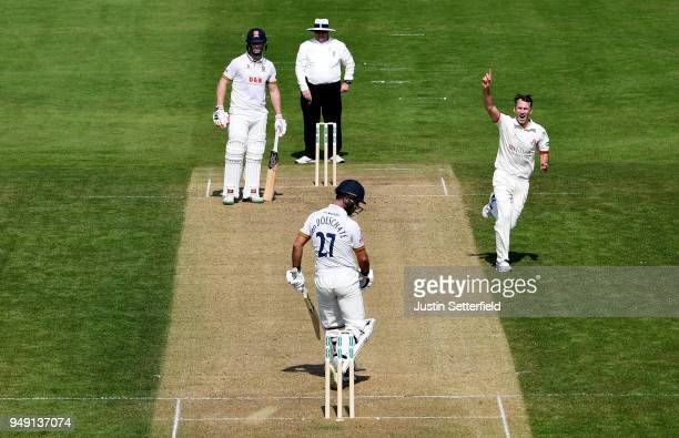 Graham Onions of Lancashire celebrates taking the wicket of Ryan ten Doeschate of Essex during the Specsavers County Championship Division One match...
