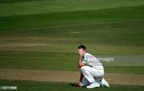 Graham Onions of Lancashire reacts during Day Two of the Specsavers County Championship Division One match between Somerset and Lancashire at The...