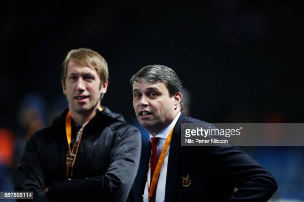 Graham Potter head coach and Daniel Kindberg president of Ostersunds FK ahead of the UEFA Europa League group J match between Hertha BSC and...