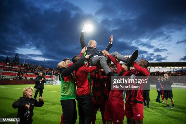 Graham Potter, head coach of Oestersunds FK celebrates after the victory during the UEFA Europa League Qualifying Play-Offs round second leg match...