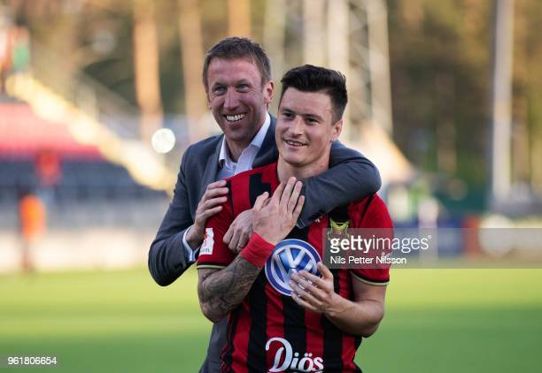Graham Potter head coach of Ostersunds FK and Jamie Hopcutt of Ostersunds FK celebrates after the victory during the Allsvenskan match between...