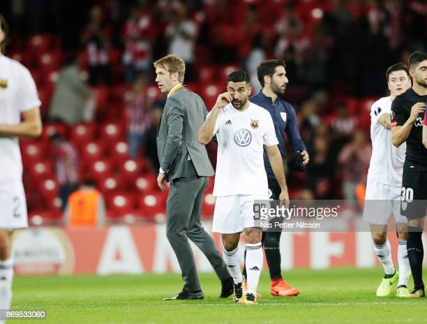 Graham Potter head coach of Ostersunds FK and Saman Ghoddos of Ostersunds FK dejected after the UEFA Europa League group J match between Athletic...