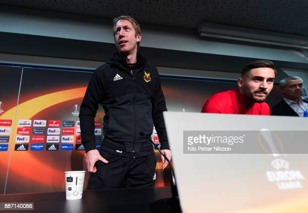 Graham Potter head coach of Ostersunds FK and Sotirios Papagiannopoulus of Ostersunds FK during a press conference ahead of the UEFA Europa League...