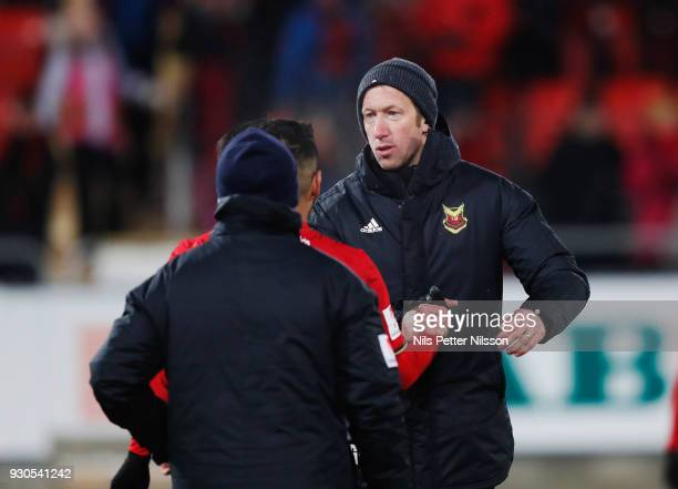 Graham Potter head coach of Ostersunds FK celebrates after the victory during the Swedish Cup Quarterfinal between Ostersunds FK and GAIS at...