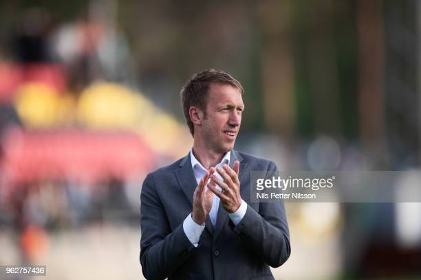 Graham Potter head coach of Ostersunds FK cheers to the fans after the Allsvenskan match between Ostersunds FK and BK Hacken at Jamtkraft Arena on...