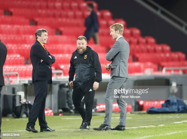 Graham Potter head coach of Ostersunds FK Daniel Kindberg chairman of Ostersunds FK and Billy Reid assistant coach of Ostersunds FK talks after the...