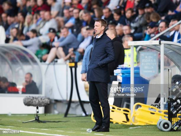 Graham Potter head coach of Ostersunds FK during the Allsvenskan match between GIF Sundsvall and Ostersunds FK at Idrottsparken on May 19 2018 in...