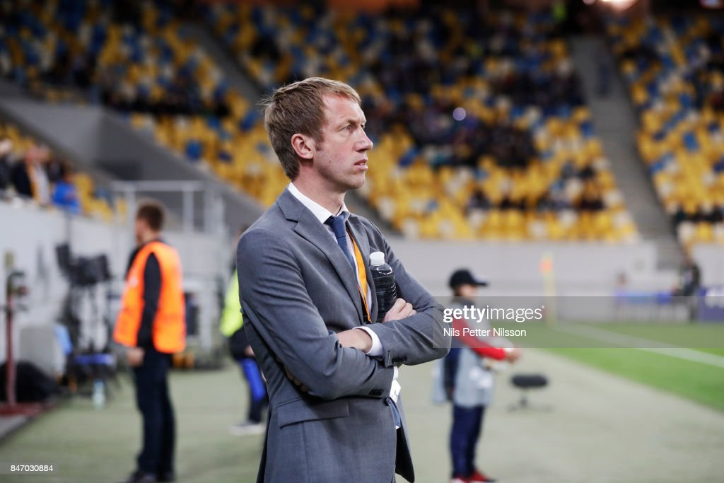 Graham Potter, head coach of Ostersunds FK during the UEFA Europa League group J match between Zorya Lugansk and Ostersunds FK at Arena Lviv on September 14, 2017 in Lviv, Ukraine.