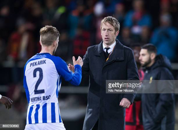 Graham Potter, head coach of Ostersunds FK during the UEFA Europa League group J match between Ostersunds FK and Hertha BSC at Jamtkraft Arena on...