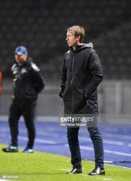 Graham Potter head coach of Ostersunds FK during the UEFA Europa League group J match between Hertha BSC and Ostersunds FK at the Olympic Stadium on...