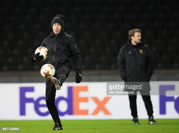 Graham Potter head coach of Ostersunds FK during training ahead of the UEFA Europa League group J match between Hertha BSC and Ostersunds FK at the...