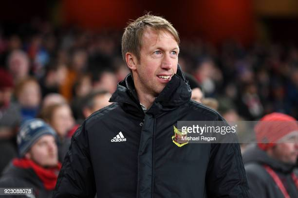 Graham Potter head coach of Ostersunds FK looks on during UEFA Europa League Round of 32 match between Arsenal and Ostersunds FK at the Emirates...