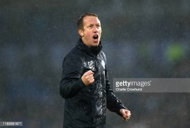 Graham Potter, Manager of Brighton and Hove Albion celebrates following his sides victory in the Premier League match between Brighton & Hove Albion...