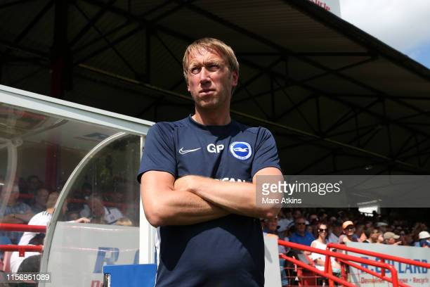 ALDERSHOT ENGLAND JULY Graham Potter manager of Brighton and Hove Albion during the PreSeason Friendly match between Brighton and Hove Albion and...