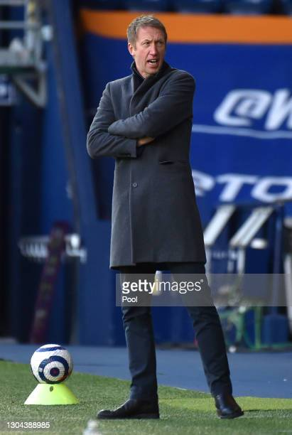 Graham Potter, Manager of Brighton and Hove Albion gives his team instructions during the Premier League match between West Bromwich Albion and...