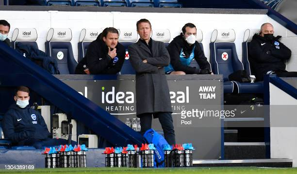 Graham Potter, Manager of Brighton and Hove Albion looks on during the Premier League match between West Bromwich Albion and Brighton & Hove Albion...