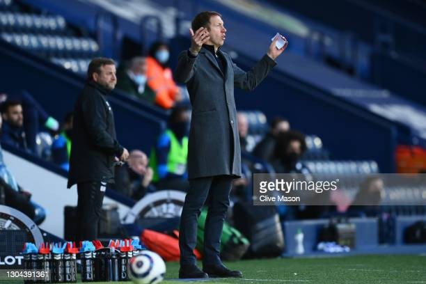 Graham Potter, Manager of Brighton and Hove Albion reacts during the Premier League match between West Bromwich Albion and Brighton & Hove Albion at...