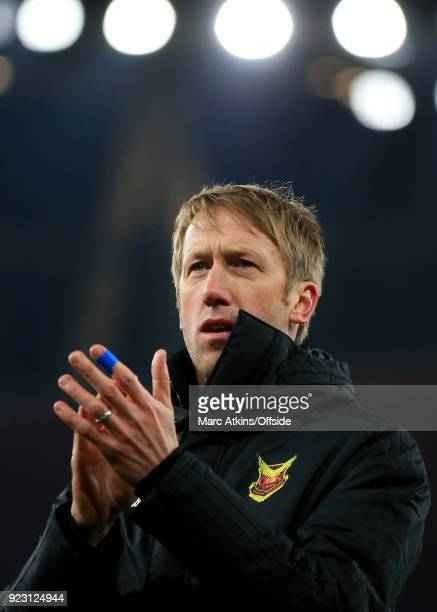 Graham Potter manager of Ostersunds FK during the UEFA Europa League Round of 32 match between Arsenal and Ostersunds FK at the Emirates Stadium on...
