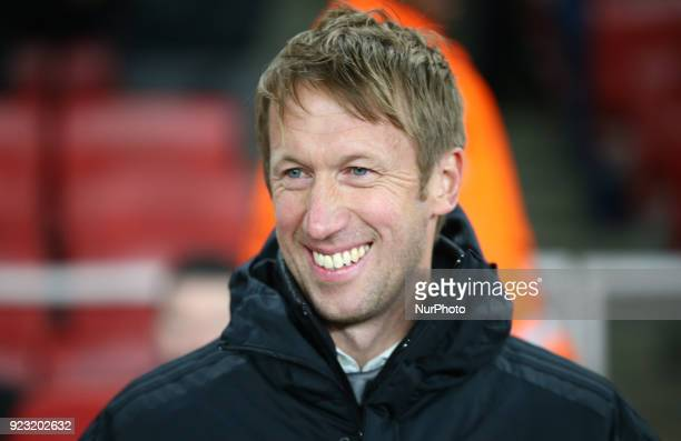 Graham Potter manager of Ostersunds FK during UEFA Europa League Round 32 2nd Leg match between Arsenal and Ostersunds FK at The Emirates London 22...