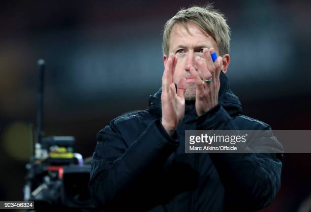 Graham Potter manager of Ostersunds FK watched by the television camera during the UEFA Europa League Round of 32 match between Arsenal and...